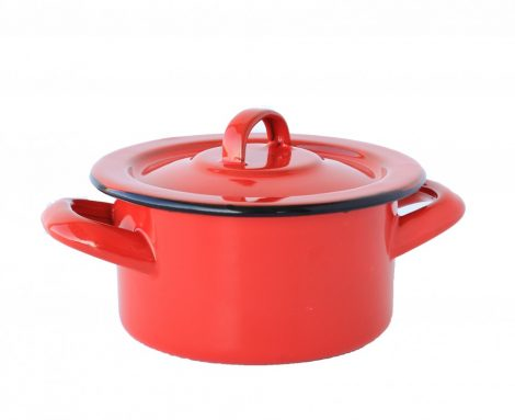 Emaille Topf 12 cm  0,7 L rot