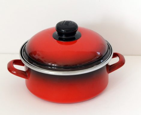 Enamelled Pot 18 cm 1,75 L Black Red