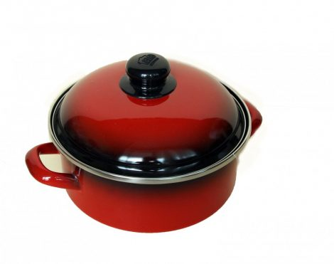 Enamelled Pot  20 cm  2,5 L Red Black