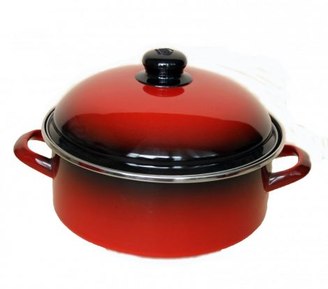Emaille Topf  24 cm  3,75 L Rot Schwarz