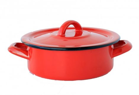 Emaille Topf 16 cm 1 L rot