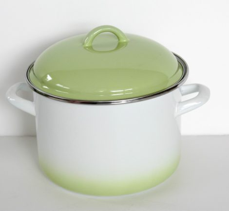 Enamel pot green-white 20 cm 4 L