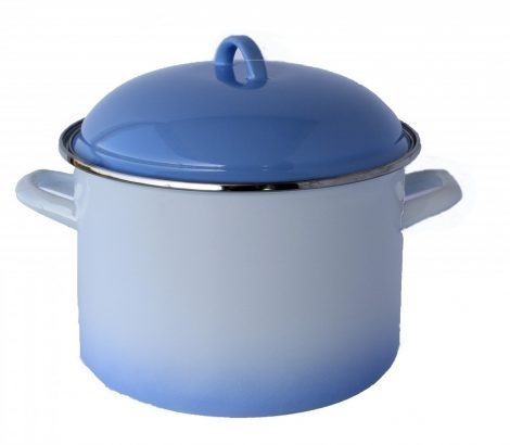 Emaille Topf 22 cm  5,5 L Blau-Weiss