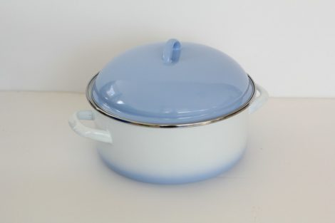 Emaille Topf 24 cm  4,5 L Blau-Weiss