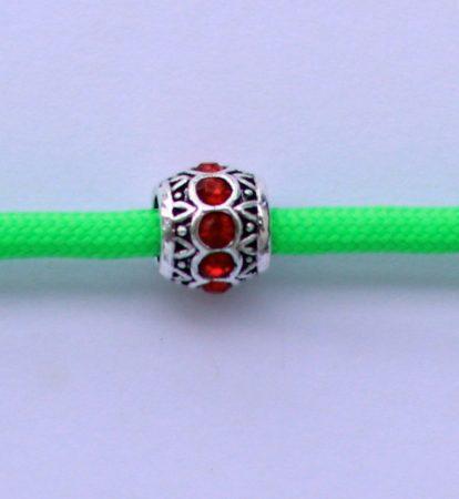 Tibetian Silver Rhinestone Spacer Bead - Red- Sphere
