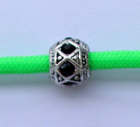 Tibetian Silver Rhinestone Spacer Bead - Black - Rhombus