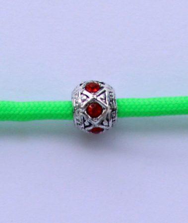 Tibetian Silver Rhinestone Spacer Bead - Red- Rhombus