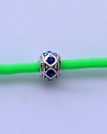 Tibetian Silver Rhinestone Spacer Bead - Blue- Rhombus